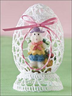 "open crochet egg, vintage ""sugar shell"" style"