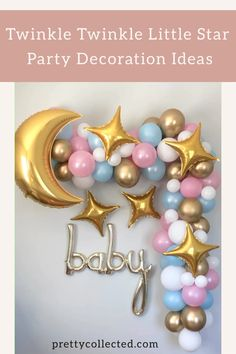 Cosy Home Interior Love this Twinkle Twinkle Little Star backdrop for our baby shower! This works perfect for a gender neutral shower, gender reveal or twin baby shower I have to have this balloon garland with these cute moon and stars balloons! Gender Reveal Themes, Gender Reveal Balloons, Gender Reveal Party Decorations, Baby Gender Reveal Party, Baby Reveal Party Ideas, Gender Reveal Banner, Girls Party Decorations, Gender Party, Gender Neutral Baby Shower