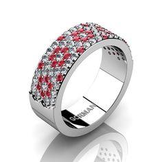 Gorman Designs Womens 14K White Gold Diamond Ruby by GormanDesigns