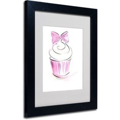Trademark Fine Art Cupcake 3 inch Framed Canvas Art by Jennifer Lilya, Black Frame, Size: 11 x 14, Multicolor