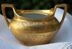 Pickard Sugar Dish with Handles.   Gold Leaf by AnythingDiscovered, $32.00