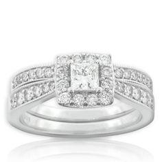 LOVE THIS  Pros: princess cut center stone, frame around center stone, accent stones, matching wedding band  Cons: NA