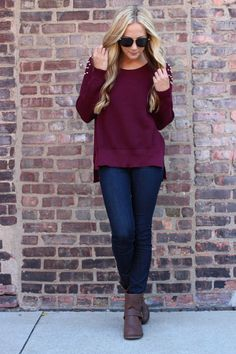 Indie Rokker Sweater - Burgundy #FallFashion