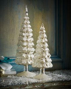 Vintage-Style Frosted-Glass Trees