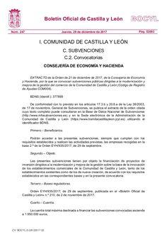 Subvenciones públicas dirigidas a la modernización y mejora de la gestión del comercio de la Comunidad de Castilla y León (Código de Registro de Ayudas COM004).