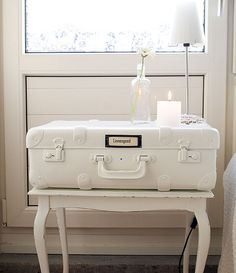 paint your suitcase white and what do you have? a night stand!