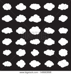 Cloud vector icon set white color on black background. Print flat illustration collection for web, art and app design. Different nature cloud weather symbols. Clouds Pattern Vector illustration.