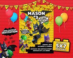 Lego Batman Invitation, Lego Batman Birthday, Lego Batman Party, Lego Batman Movie Invitation