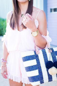 Pom Beach Tote and Coral Romper // A Southern Drawl