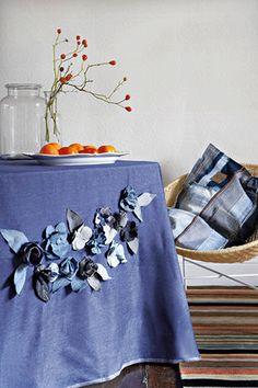 Poppytalk: DIY: Blue Jean Embellished Tablecloth -,even has flower tutorial!,
