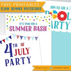 Free Summer Party Printables by BitsyCreations for Somewhat Simple