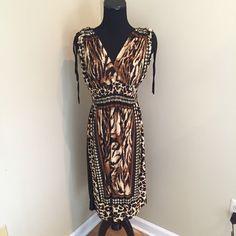 Nwot Animal Print Convertible Sleeve Dress