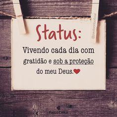 Status: Vivendo minha vida com gratidão e sob a proteção do meu Deus.❤️ At Home Workout Plan, At Home Workouts, Lettering Tutorial, Jesus Christ, Prayers, Love You, Wisdom, Positivity, Thoughts