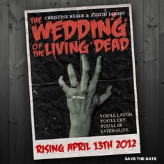 Vintage Zombie Movie Poster Wedding Program / by FancyBeastDesigns Wedding Anniversary Invitations, Wedding Invitation Cards, Wedding Programs, Invitation Wording, Invitation Design, Wedding Stationery, Invites, Wedding Movies, Wedding Humor
