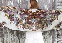 100% SILK scarf, Hand painted Butterflies in Earthy tones, stunning unique and useful, perfect gift