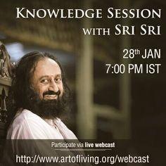 Satsang with Gurudev @SriSri live today at 7PM IST from @BangaloreAshram.Live:http://artofliving.org/webcast  or #SriSri app