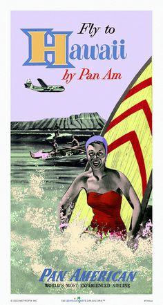 Fly To Hawaii By Pan Am.' Hawaii travel 1949
