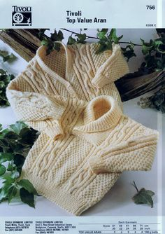 PDF Digital Download Vintage Knitting Pattern to make Aran Baby Clothes Tivoli 756