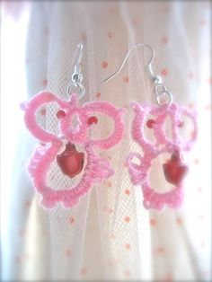 Owl tatted earrings with glass bead body tatting by marchewcia2