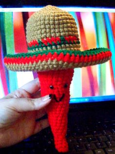 7 #crochet sombrero patterns for Cinco de Mayo - Harmony Rose was inspired by Jean Herman's chili peppers crochet pattern to create a chili pepper character with an adorable sombrero. The sombrero crochet pattern is available as a free Ravelry download.
