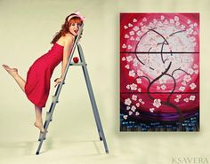 Weddings gift RosE SaKuRa sunrise painting tree in by KsaveraART