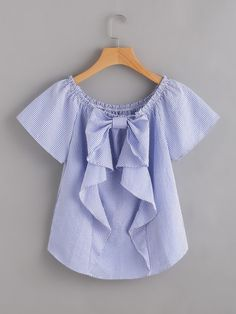 Cheap blouse blue, Buy Quality vertical striped blouse directly from China blouse fashion Suppliers: Sheinside Vertical Striped Blouse Blue Cute Bow Frill Trim Women Tops 2017 Fashion Summer Casual Ruched Boat Neck Tunic Blouse Fashion 2017, Kids Fashion, Fashion Outfits, Fashion Design, Blouse Styles, Blouse Designs, Pretty Outfits, Cute Outfits, Couture