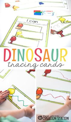 These Dinosaur Tracing Cards are the perfect pre-writing activity for the scribblers in your life! Dinosaur Activities, Toddler Learning Activities, Writing Activities, Preschool Activities, Preschool Writing, Preschool Dinosaur, Dinosaur Cards, Writing Resources, Motor Activities