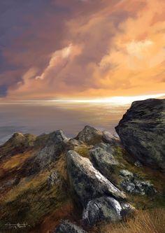 'Rocky Seascape' by Tony Hurst Fantasy Landscape, Fantasy Art, Fantasy Background, Great Backgrounds, Fantasy Places, Sea Art, Beautiful Landscapes, Concept Art, Digital Art