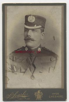 Military 1890  Military soldier uniform cap badge Manchester Hyde Cheshire photo Military Soldier, Hyde, Soldiers, Manchester, Victorian, Cap, Baseball Cards, Painting, Baseball Hat