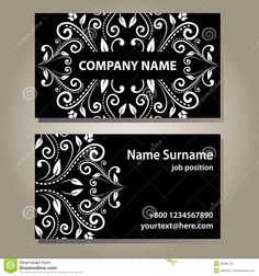 Set Of Vintage Empty Black Elegance Cards With Curly White Floral Pattern - Download From Over 43 Million High Quality Stock Photos, Images, Vectors. Sign up for FREE today. Image: 45385742