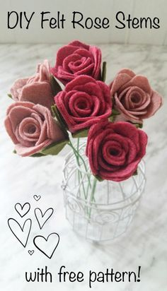 DIY Felt Rose Stems – With Pattern Wildflower Felt Designs Rose Crafts, Flower Crafts, Diy Flowers, Fabric Flowers, Zipper Flowers, Art Crafts, Felt Flower Template, Felt Flower Tutorial, Felt Flower Diy