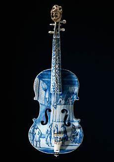 Violin, c. 1705-1710, Unknown artist porcelain modeler, faience. www.rijksmuseum.nl