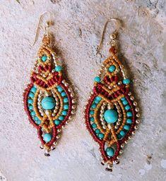 Indian Earrings, Tribal Earrings, Gold Drop Earrings, Turquoise Earrings, Bead Earrings, Etsy Earrings, Crochet Earrings, Statement Earrings, Macrame Earrings Tutorial