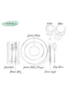 casual dining place setting instructions | how to set the table | proper table setting Every Man, Casual Table Settings, Step Guide, Dining Room, Dining Etiquette, Cutlery, Image, Plates, Home Decor