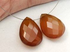 Brown Chalcedony Matched Pair Brown Pear Side by gemsforjewels