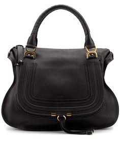 Chloe Marcie Large Leather Shoulder Bag Black