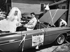 Bride and groom wait in the open convertible that is their transportation to their reception while a mechanic works under the hood on June by George P. Wedding Planning Tips, Wedding Planner, Destination Wedding, Wedding Events, Wedding Day, Weddings, After The Affair, June 8, Family Traditions