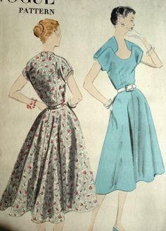 Unique neckline 50s dress pattern