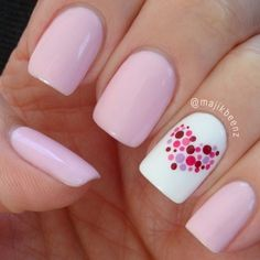 Nail art is a very popular trend these days and every woman you meet seems to have beautiful nails. It used to be that women would just go get a manicure or pedicure to get their nails trimmed and shaped with just a few coats of plain nail polish. Love Nails, How To Do Nails, Dot Nail Designs, Nails Design, Heart Nail Designs, Nail Designs With Hearts, Pedicure Designs, Gel Nail Polish Designs, Valentine Nail Art