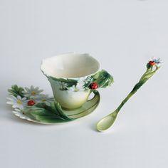 Franz Collection Ladybug Cup, Saucer & Spoon Set
