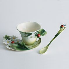 Franz Collection Ladybug Cup, Saucer & Spoon Set. Just beautiful!