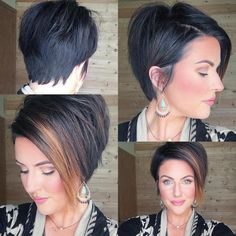Long Razored Pixie for Fine Hair Feel like trying a fun hairstyle? The sliced pixie cut with straight bangs makes eyes pop and gives a more elongated shape to the face. Bob Hairstyles For Thick, Haircuts With Bangs, Crown Hairstyles, Pixie Hairstyles, Pixie Haircuts, Long Side Bangs, Straight Bangs, Asymmetrical Bob Haircuts, Assymetrical Bob