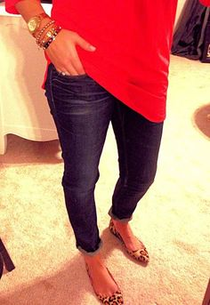Jeans, leopard, red and bracelets.