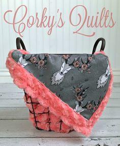 Deer Baby Blanket Designer Minky Grey by TheDesignerMinkyCo