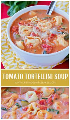 This 30-minute creamy tomato tortellini soup is flavorful and filling, packed with tomatoes, spinach, zucchini, and cheesy tortellini. Plus, it's incredibly easy to make! #soup #tortellini #tortellinisoup #30minutemeal #vegetables #onepot Tomato Tortellini Soup, Chicken Gnocchi Soup, Tomato Soup, Easy Dinner Recipes, Soup Recipes, Easy Meals, Delicious Recipes, Dinner Ideas, Supper Recipes