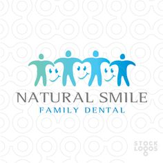 Logo Sold: Simple stylized family join hands together to create smiling tooth shapes within the white space