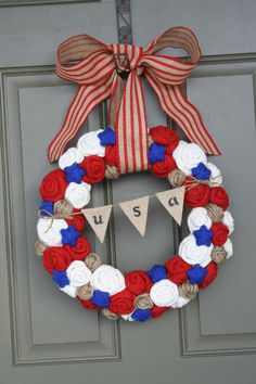 Patriotic Jute Yarn Wreath/USA Banner/Burlap Flowers/Roses/Yarn Stars/Striped Burlap Ribbon/Spring/Summer via Etsy.