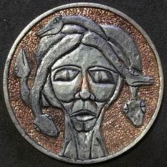 CHAD SMITH HOBO HALF DOLLAR - MEDUSA II - 1978 CCC KENNEDY HALF DOLLAR Hobo Nickel, Kennedy Half Dollar, Medusa, Cactus, Coins, Carving, Jellyfish, Rooms, Wood Carvings