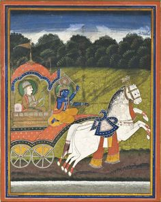 A Large Painting Of Krishna And Arjuna Rajasthan, North India, Second Half 19th Century