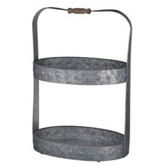 A and B Home Acoma 2-Tiered Galvanized Metal Serving Tray